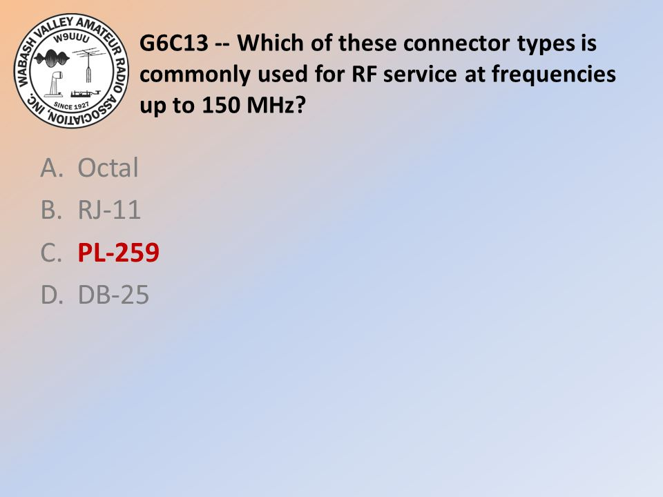 G6C13 -- Which of these connector types is commonly used for RF service at frequencies up to 150 MHz