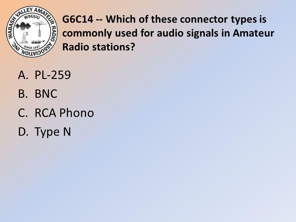A. PL-259 B. BNC C. RCA Phono D. Type N