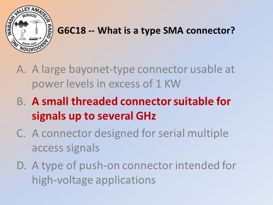 G6C18 -- What is a type SMA connector