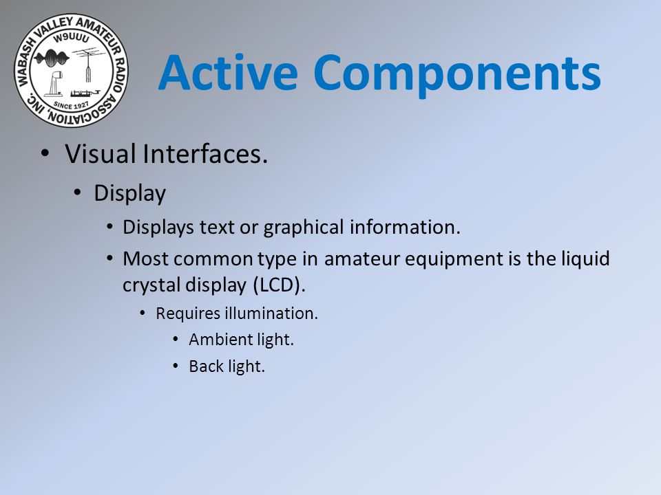 Active Components Visual Interfaces. Display