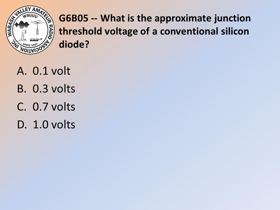 A. 0.1 volt B. 0.3 volts C. 0.7 volts D. 1.0 volts
