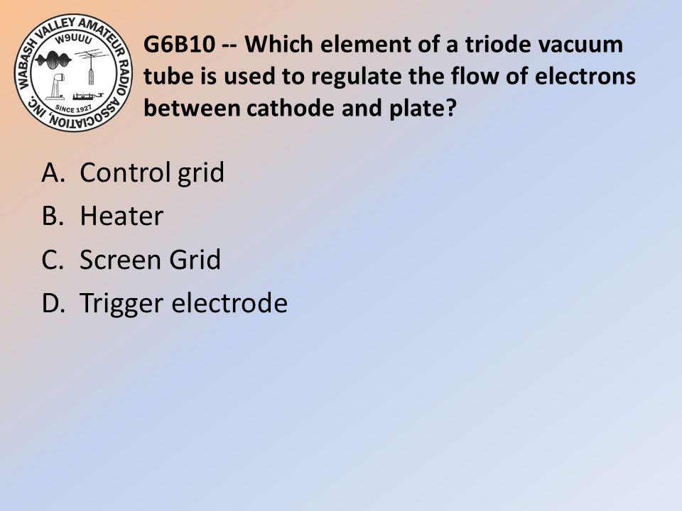 A. Control grid B. Heater C. Screen Grid D. Trigger electrode