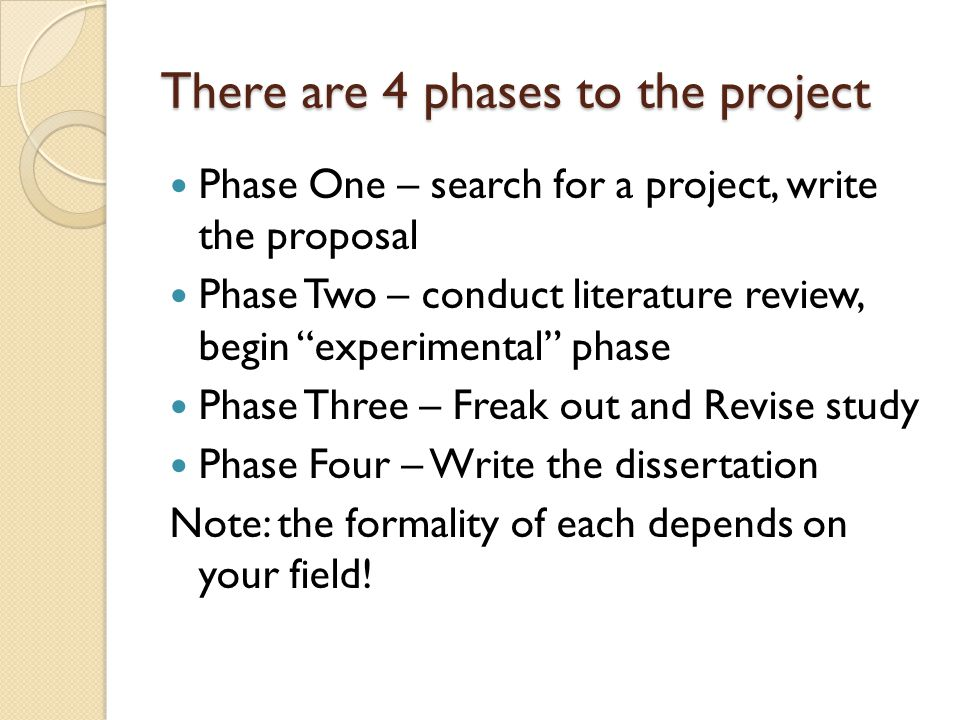 There are 4 phases to the project