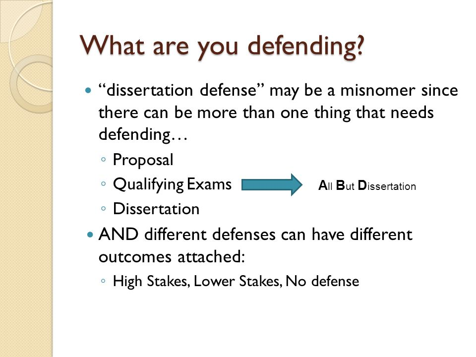 What are you defending dissertation defense may be a misnomer since there can be more than one thing that needs defending…
