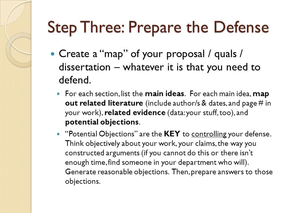 Step Three: Prepare the Defense