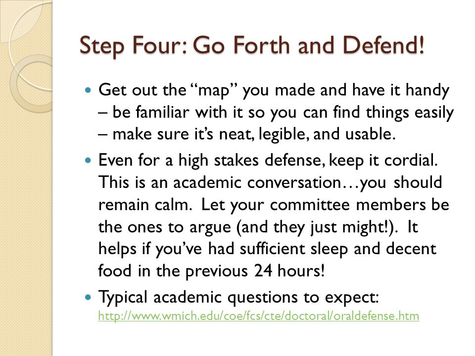 Step Four: Go Forth and Defend!