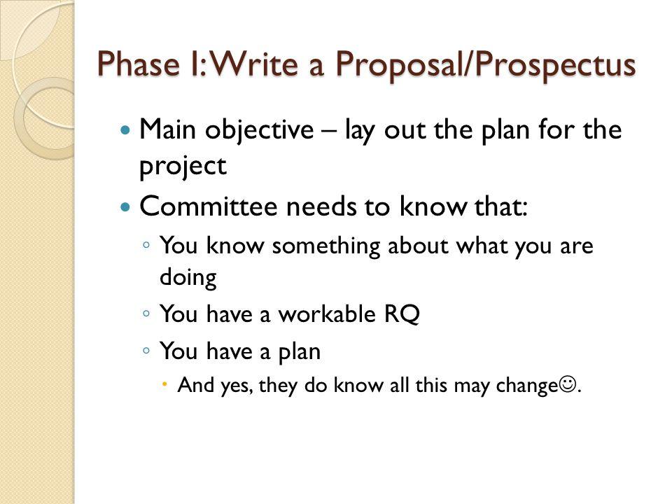 Phase I: Write a Proposal/Prospectus