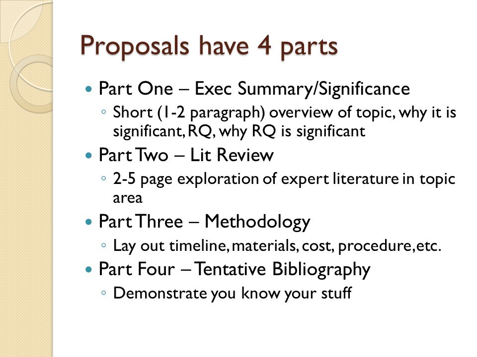 Proposals have 4 parts Part One – Exec Summary/Significance