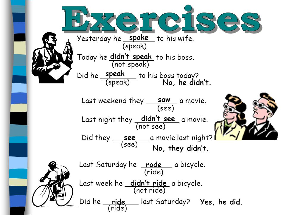 Exercises spoke Yesterday he _______ to his wife. (speak)