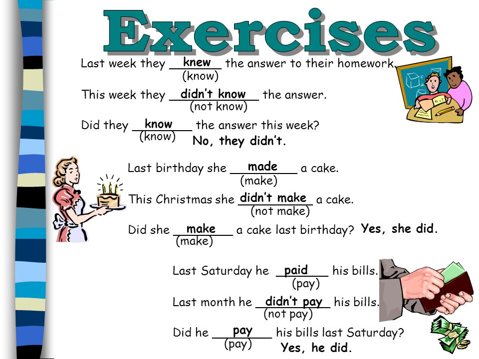 Exercises knew Last week they _______ the answer to their homework.