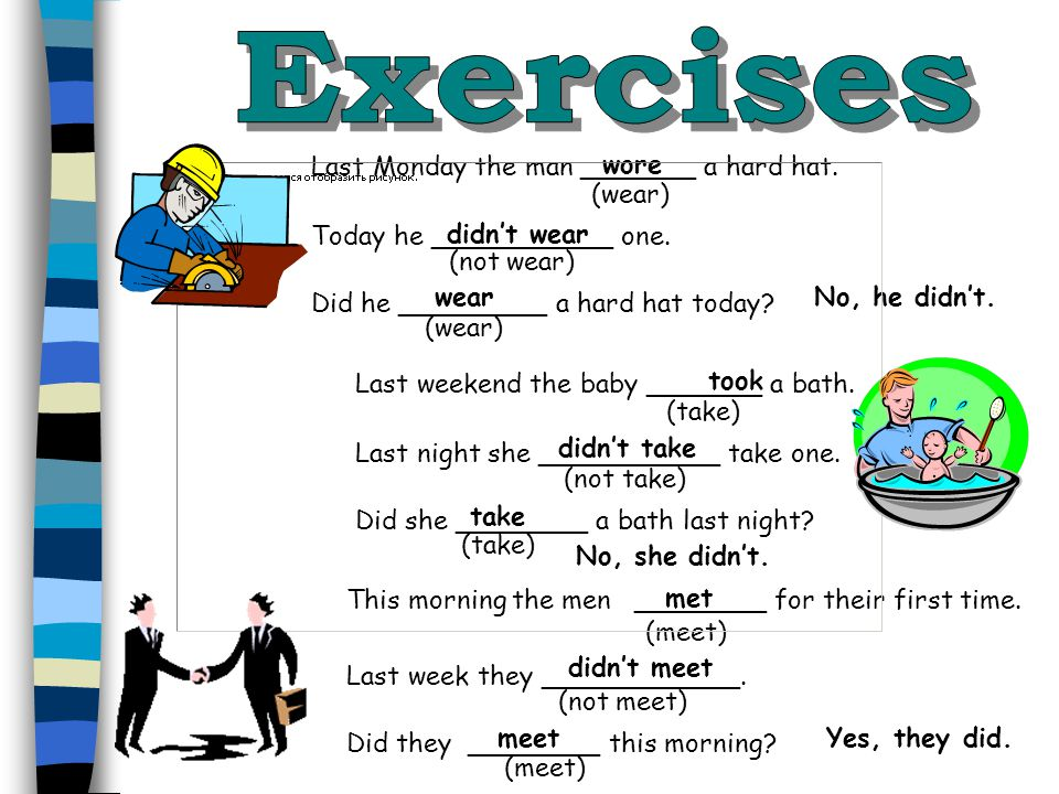 Exercises wore Last Monday the man _______ a hard hat. (wear)