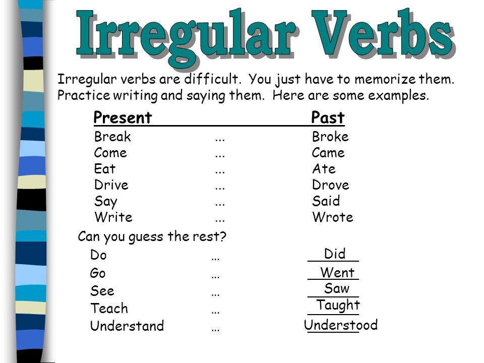 Irregular Verbs Present Past