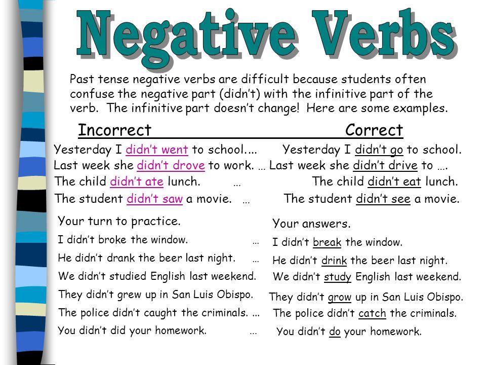 Negative Verbs Incorrect Correct