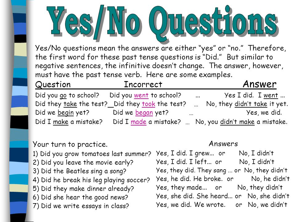 Yes/No Questions Question Incorrect Answer