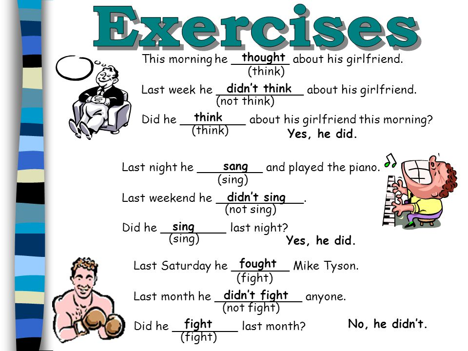 Exercises thought This morning he ________ about his girlfriend.