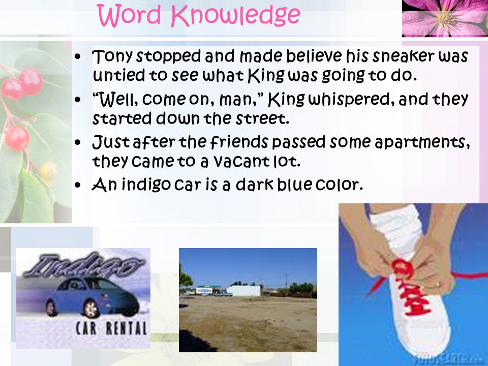 Word Knowledge Tony stopped and made believe his sneaker was untied to see what King was going to do.