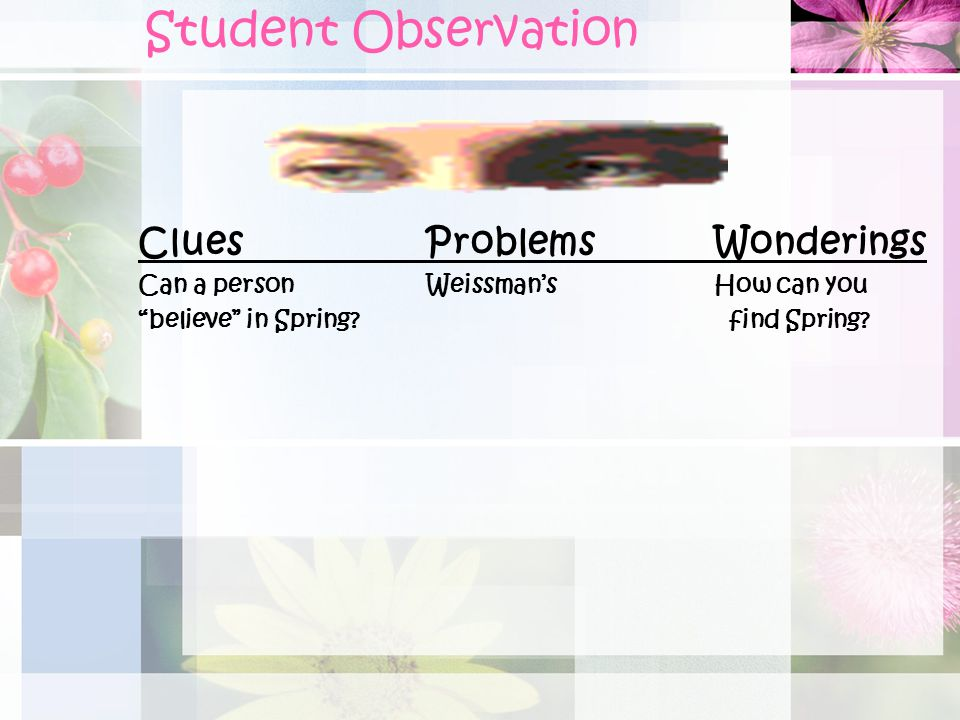 Student Observation Clues Problems Wonderings