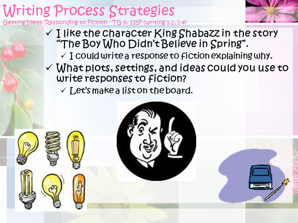 Writing Process Strategies Getting Ideas: Responding to Fiction TG p