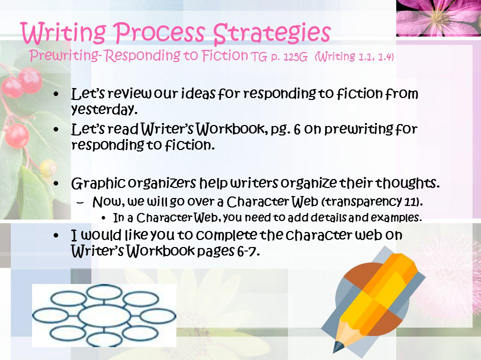 Writing Process Strategies Prewriting- Responding to Fiction TG p