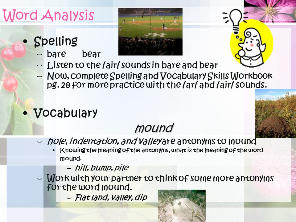 Word Analysis Spelling Vocabulary mound bare bear