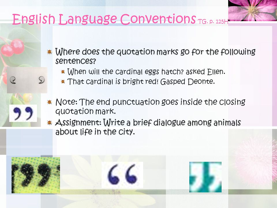 English Language Conventions TG. p. 125H