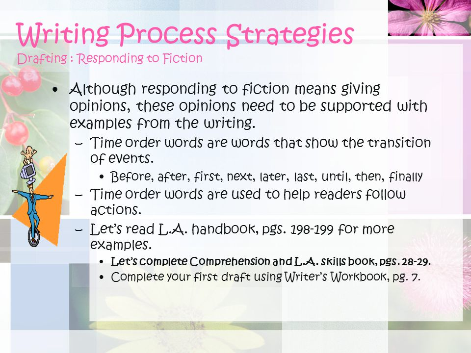 Writing Process Strategies Drafting : Responding to Fiction
