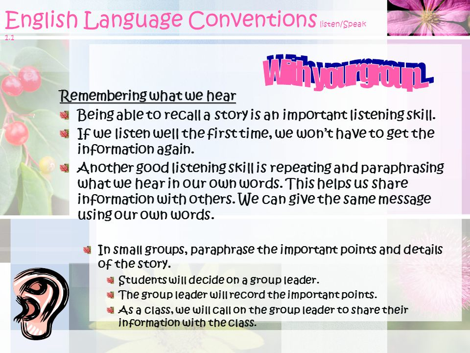 English Language Conventions listen/Speak 1.1