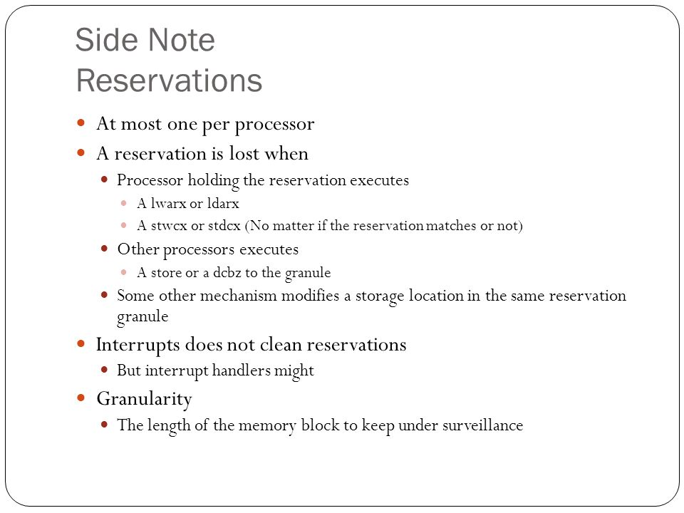 Side Note Reservations