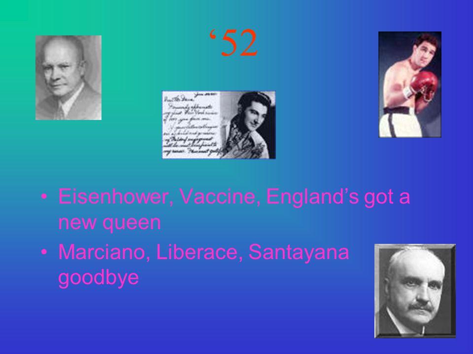 '52 Eisenhower, Vaccine, England's got a new queen