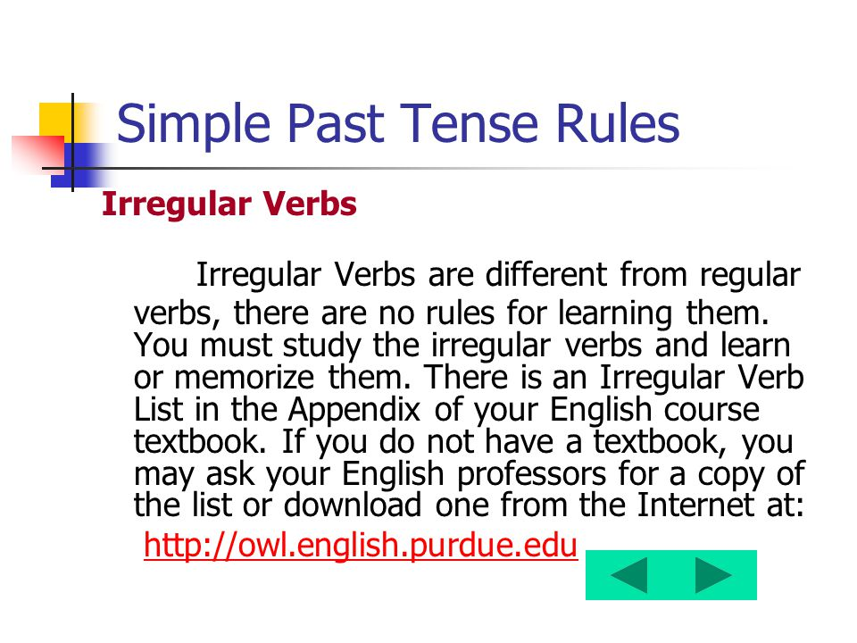 Simple Past Tense Rules