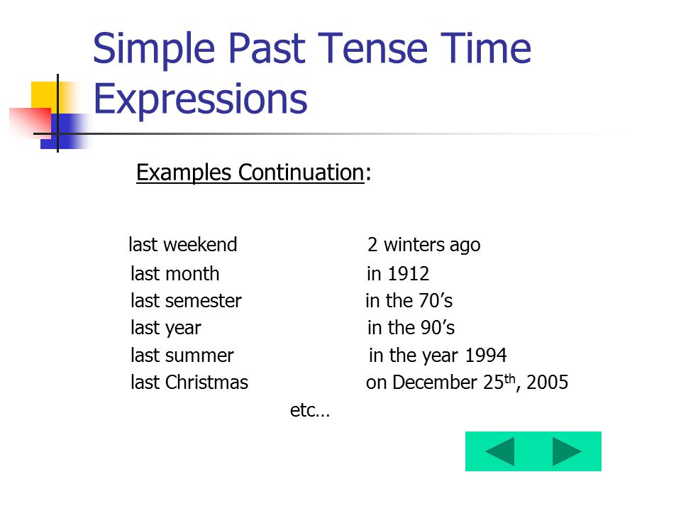 Simple Past Tense Time Expressions