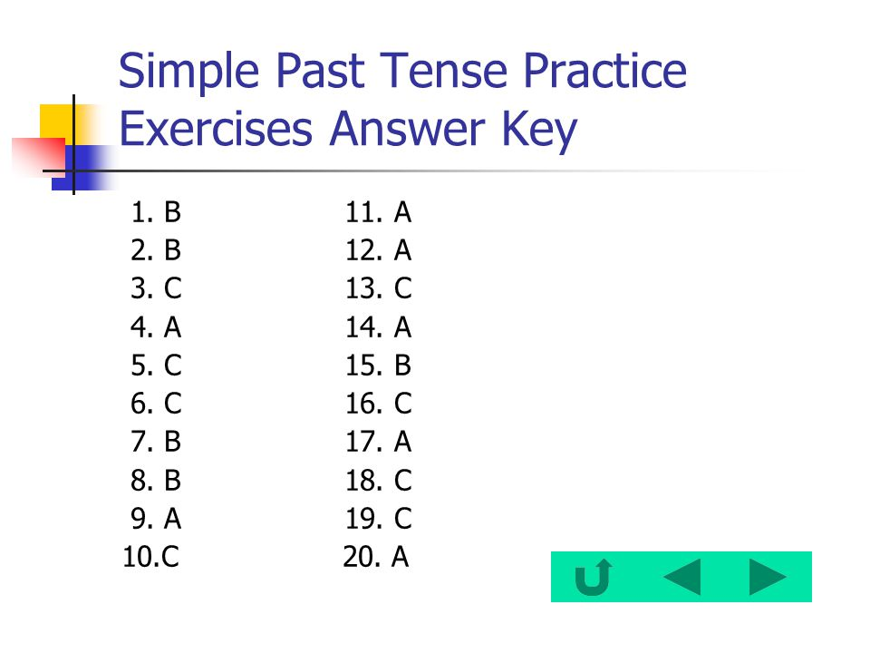 Simple Past Tense Practice Exercises Answer Key