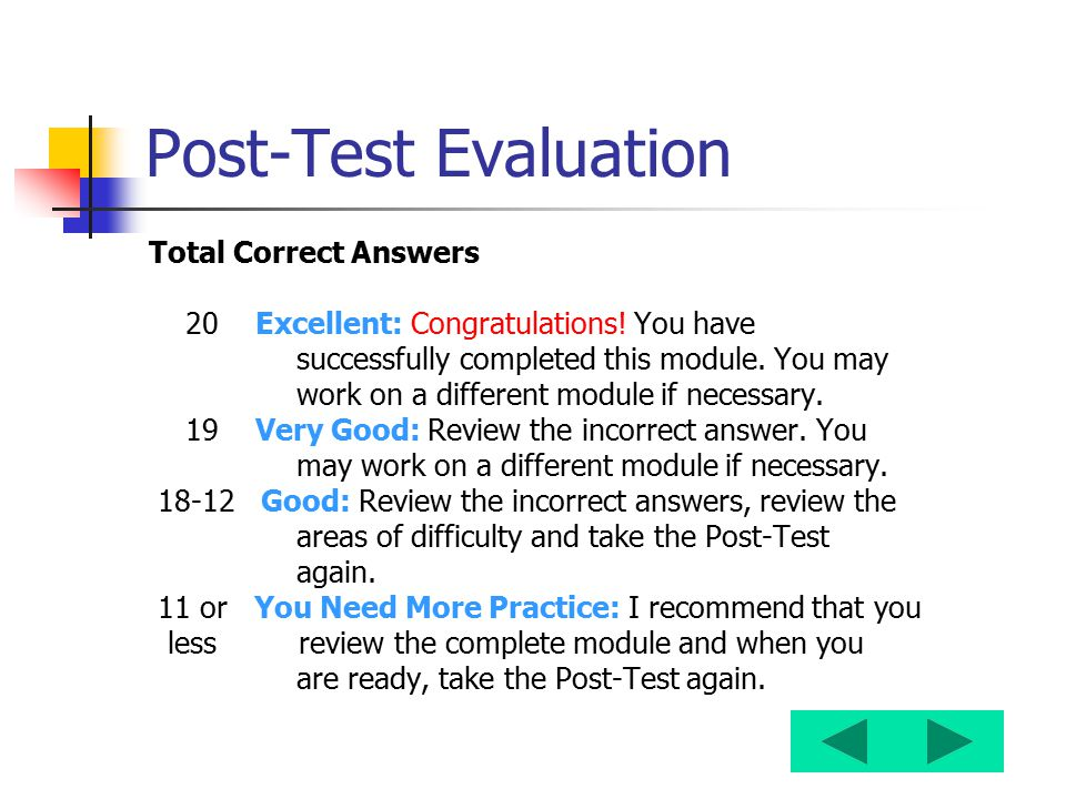Post-Test Evaluation Total Correct Answers