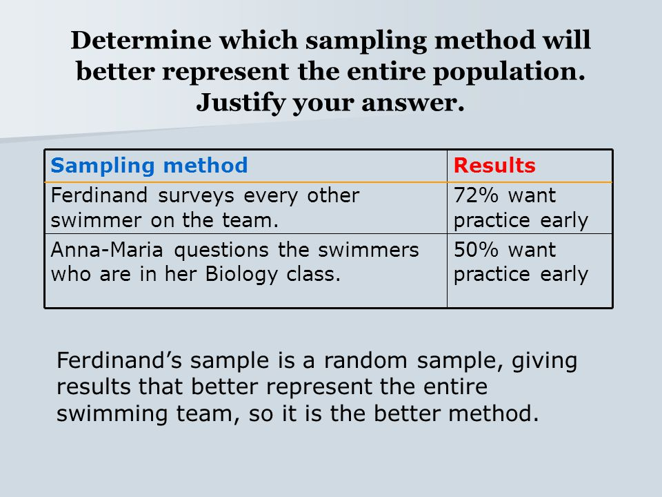 Determine which sampling method will better represent the entire population. Justify your answer.