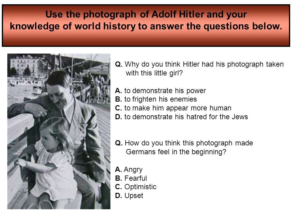 Use the photograph of Adolf Hitler and your knowledge of world history to answer the questions below.
