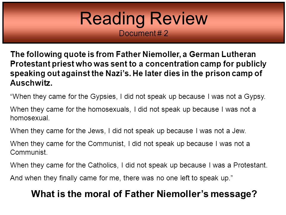 What is the moral of Father Niemoller's message