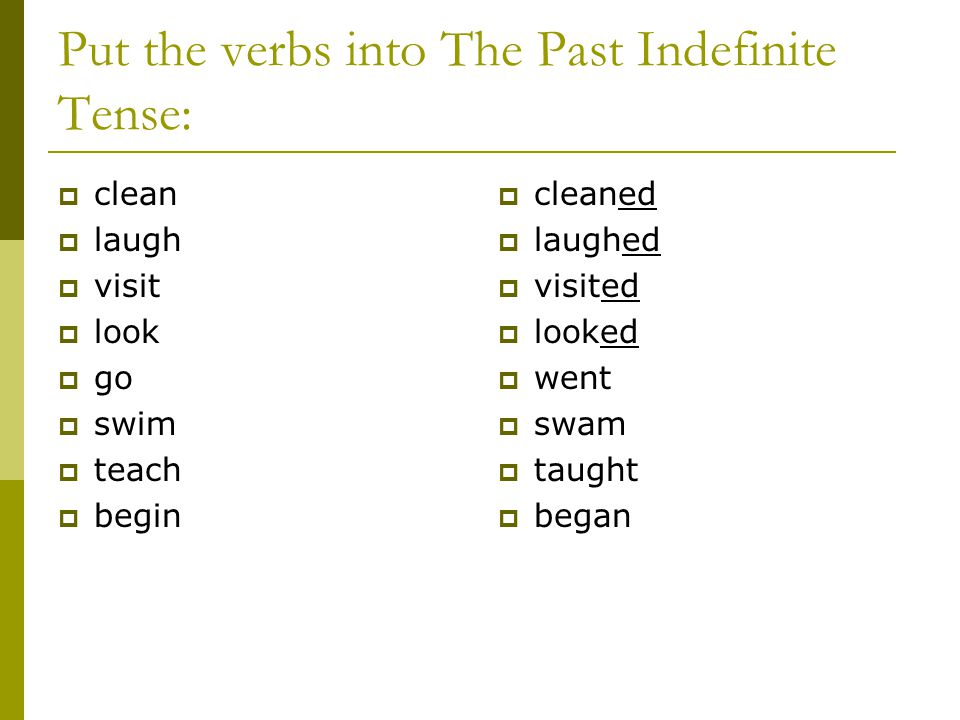 Put the verbs into The Past Indefinite Tense: