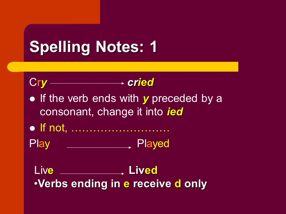 Spelling Notes: 1 Cry cried