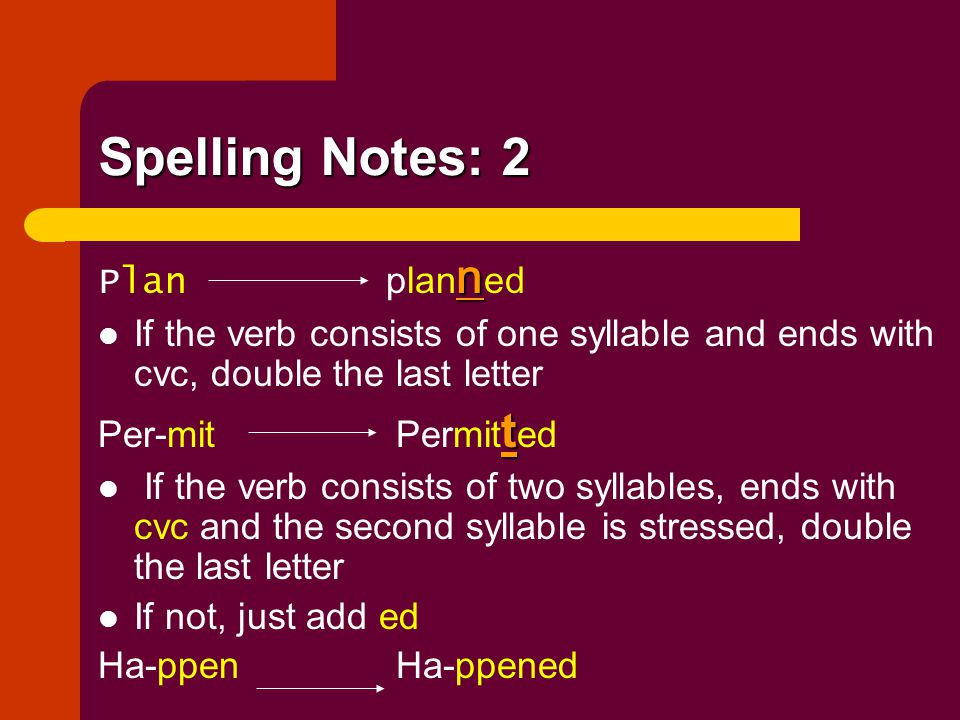 Spelling Notes: 2 Plan planned