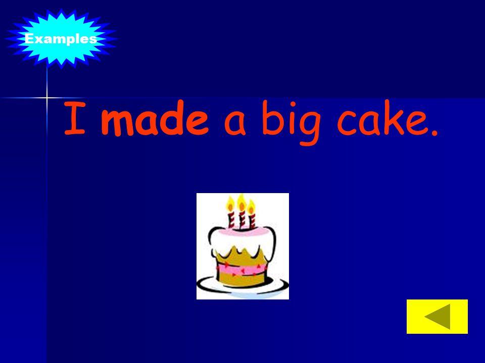 Examples I made a big cake.