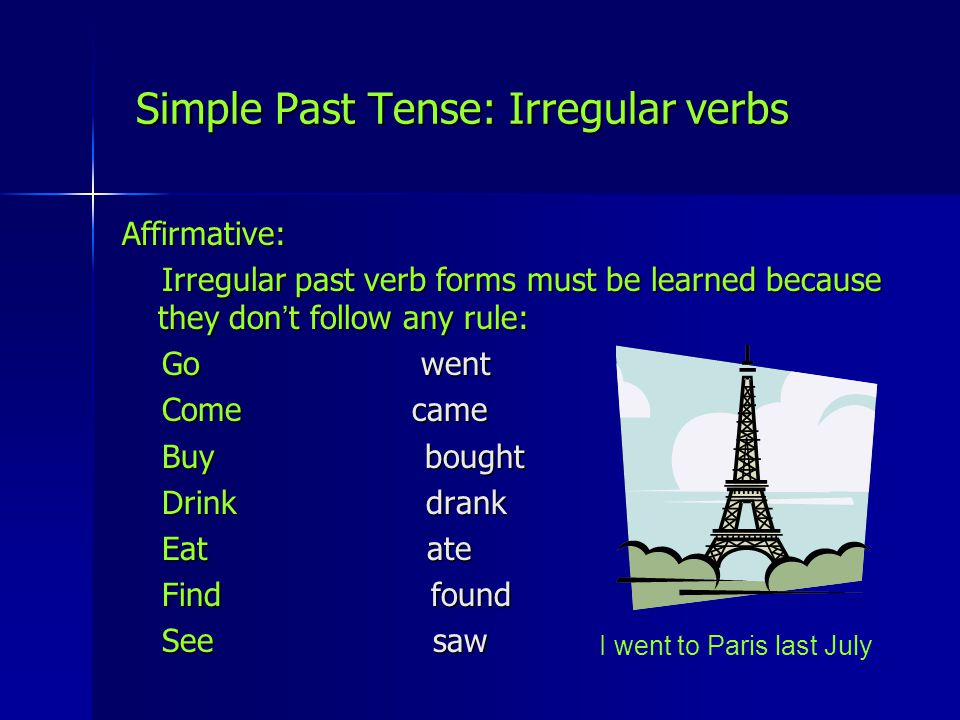 Simple Past Tense: Irregular verbs
