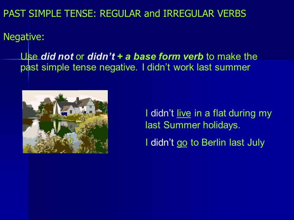 PAST SIMPLE TENSE: REGULAR and IRREGULAR VERBS Negative: