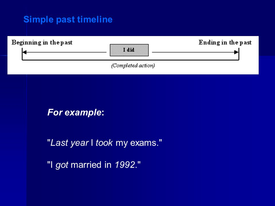 Simple past timeline For example: Last year I took my exams. I got married in 1992.