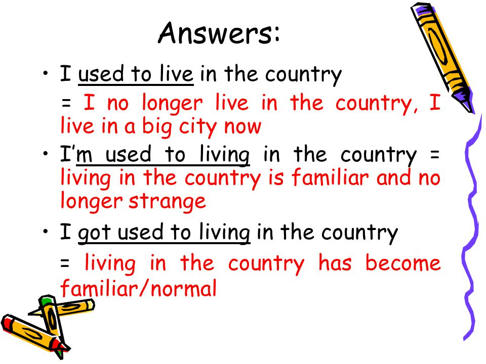 Answers: I used to live in the country