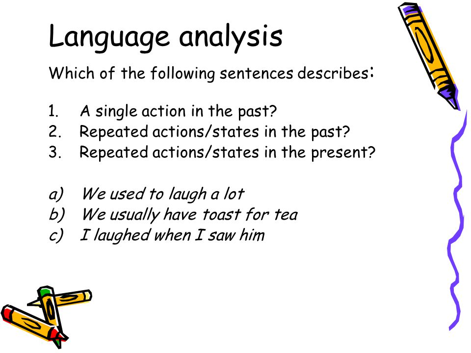 Language analysis Which of the following sentences describes: