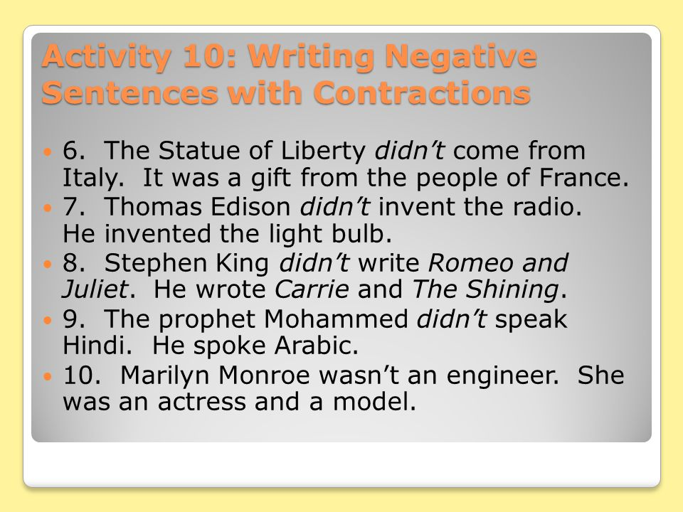 Activity 10: Writing Negative Sentences with Contractions