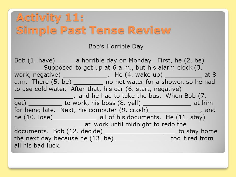 Activity 11: Simple Past Tense Review
