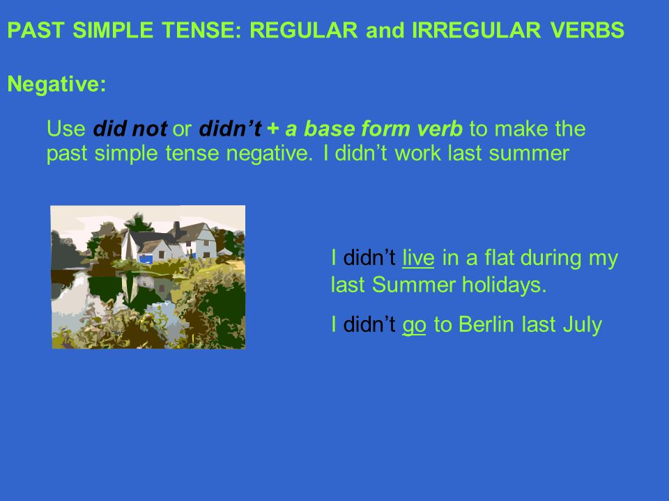 PAST SIMPLE TENSE: REGULAR and IRREGULAR VERBS Negative: