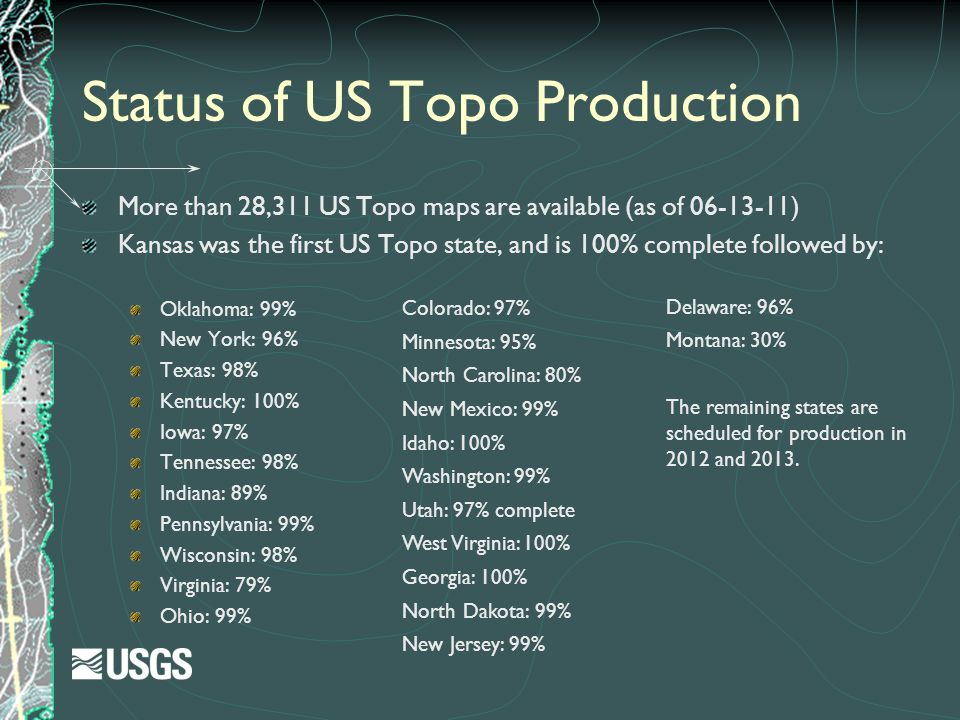 Status of US Topo Production
