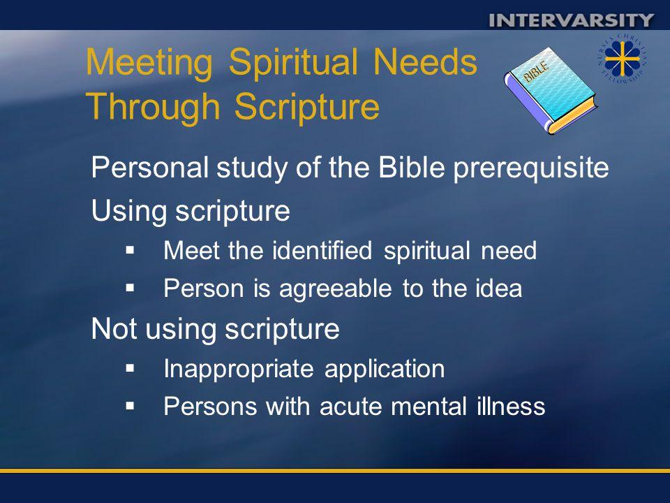 Meeting Spiritual Needs Through Scripture
